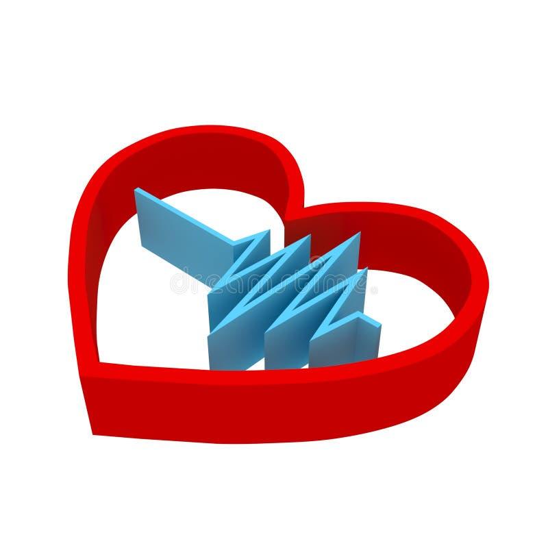 心脏节奏商标 脉冲simbol - 3D回报 向量例证