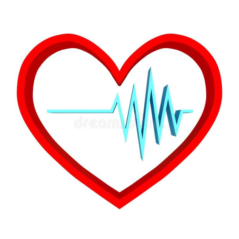 心脏节奏商标 脉冲simbol - 3D回报 库存例证