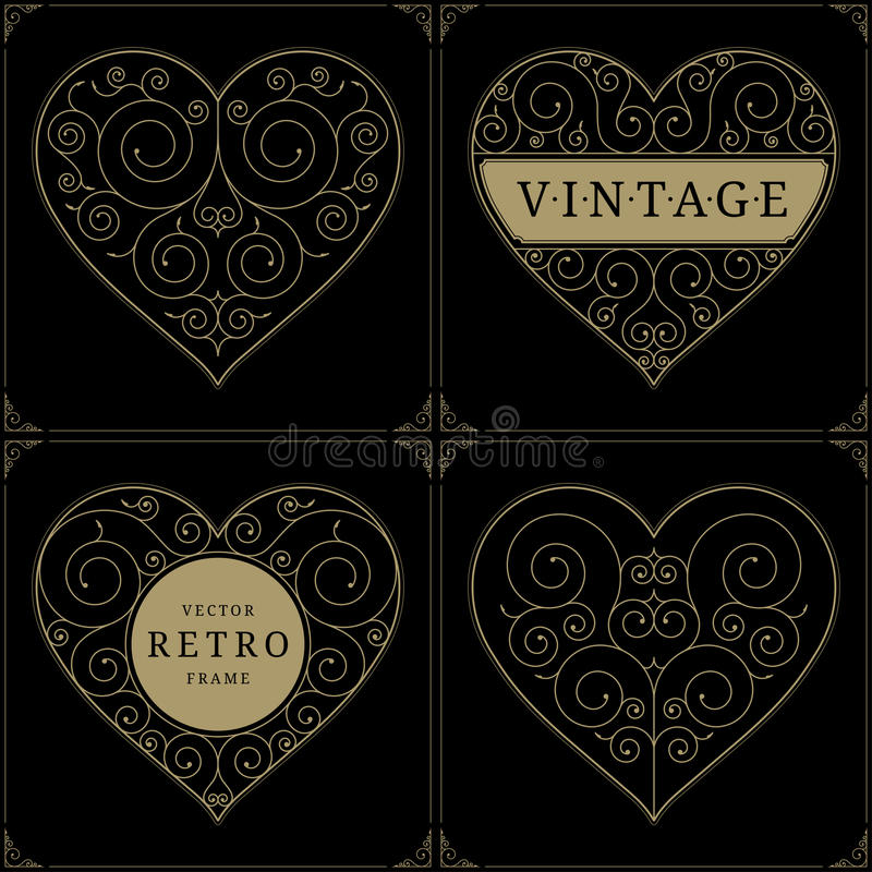 心脏葡萄酒豪华商标模板集合 向量例证