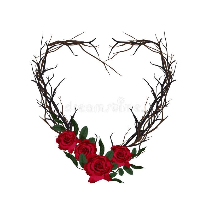心脏被编织枝杈 装饰花卉框架 库存例证