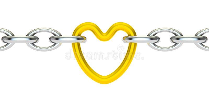 心脏被连接的链子, 3D翻译 皇族释放例证