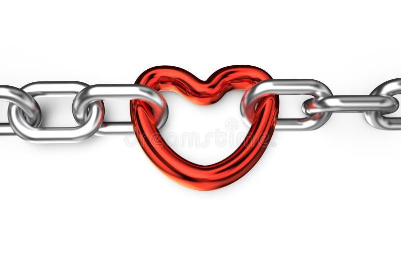 心脏被连接的链子 向量例证