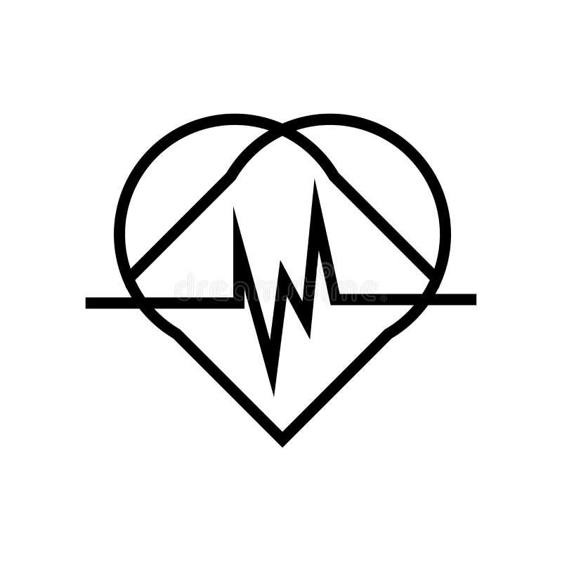 心脏象在白色背景和标志隔绝的传染媒介标志,心脏商标概念 皇族释放例证