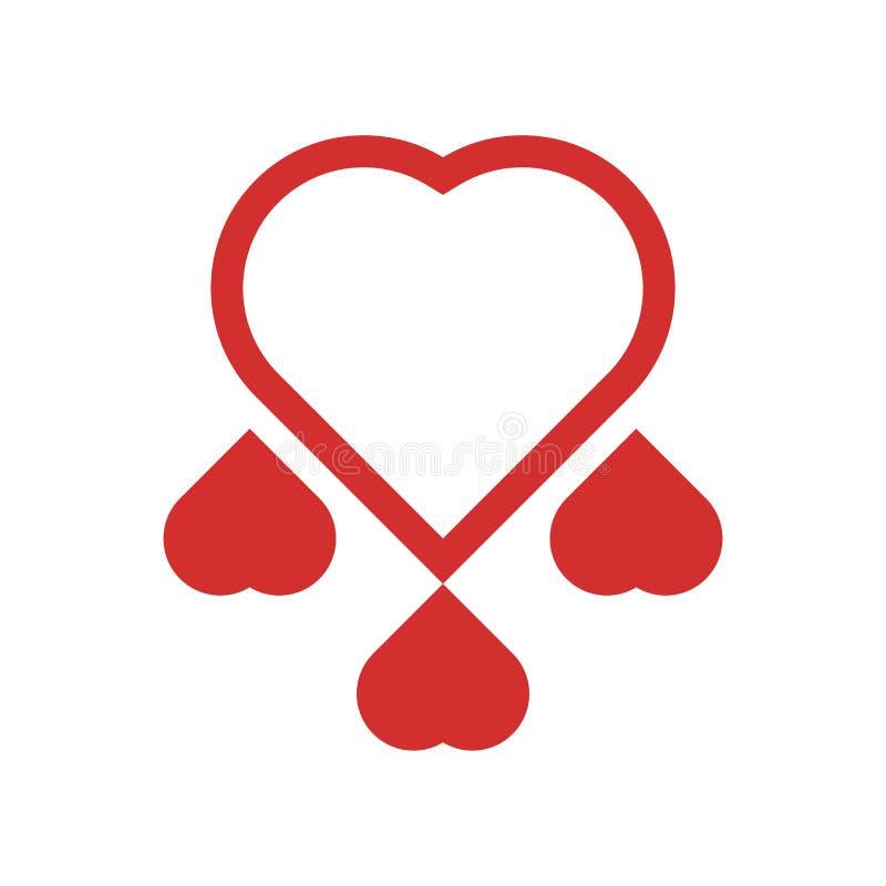 心脏象在白色背景和标志隔绝的传染媒介标志,心脏商标概念 向量例证