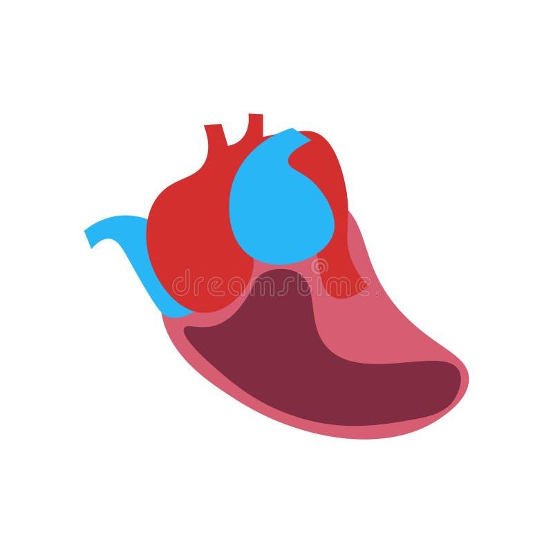 心脏象在白色背景和标志隔绝的传染媒介标志 向量例证