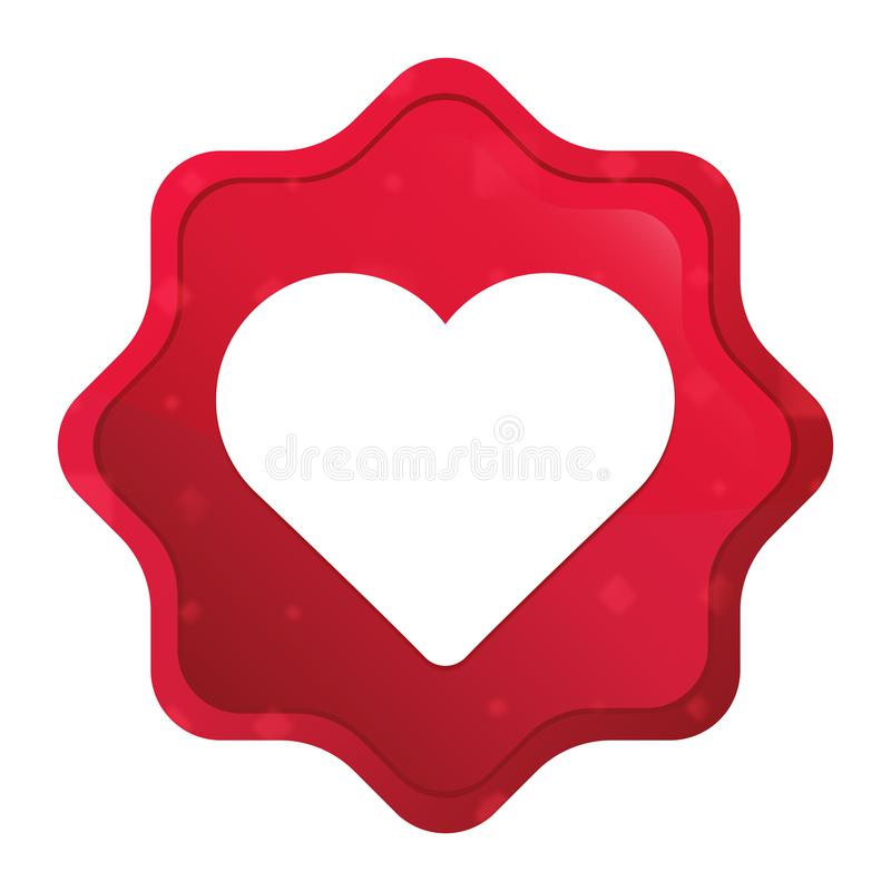 心脏象有薄雾的玫瑰红的starburst贴纸按钮 向量例证