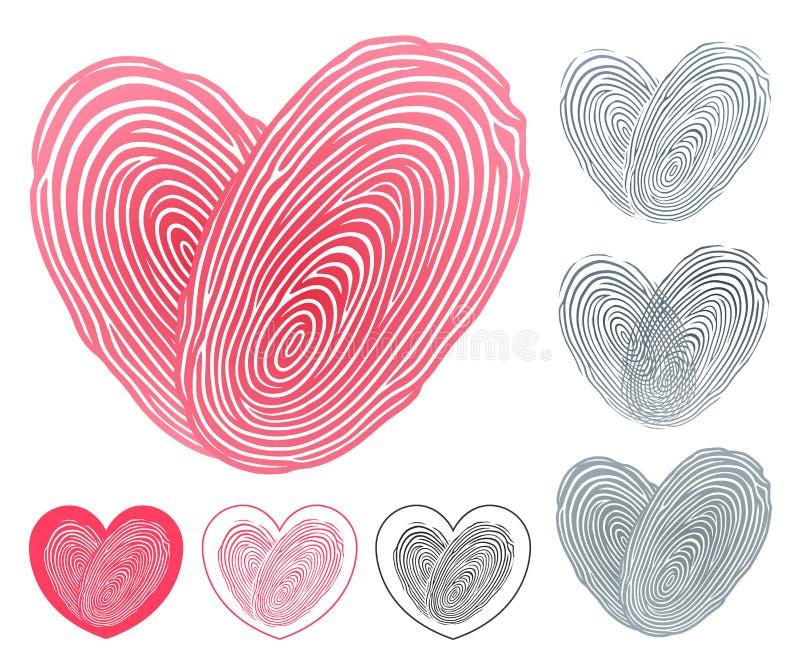 心脏象被形成两个重叠的指纹 皇族释放例证