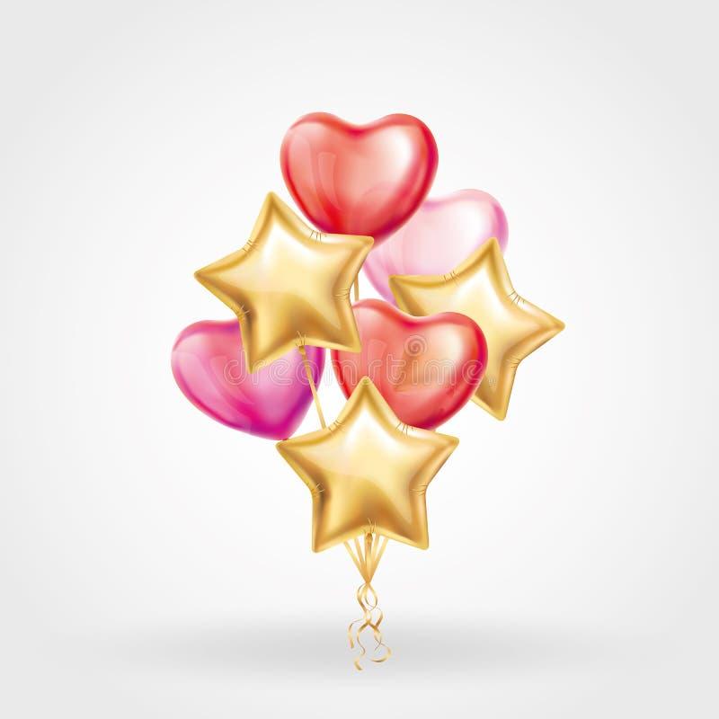 心脏金在背景的星气球 向量例证