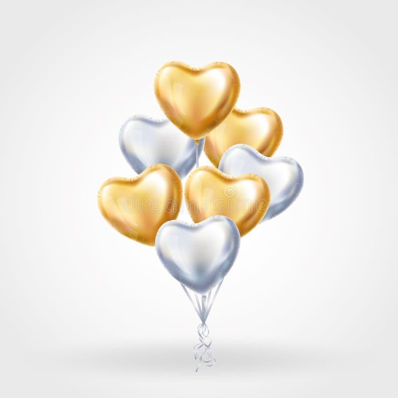 心脏金在背景的银气球 库存例证