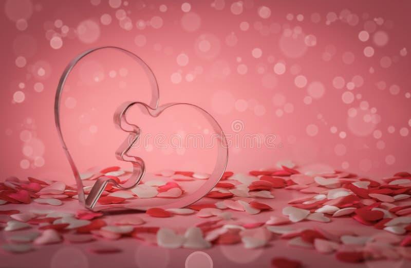 心脏金属形状和许多一点心脏在桃红色 免版税库存图片