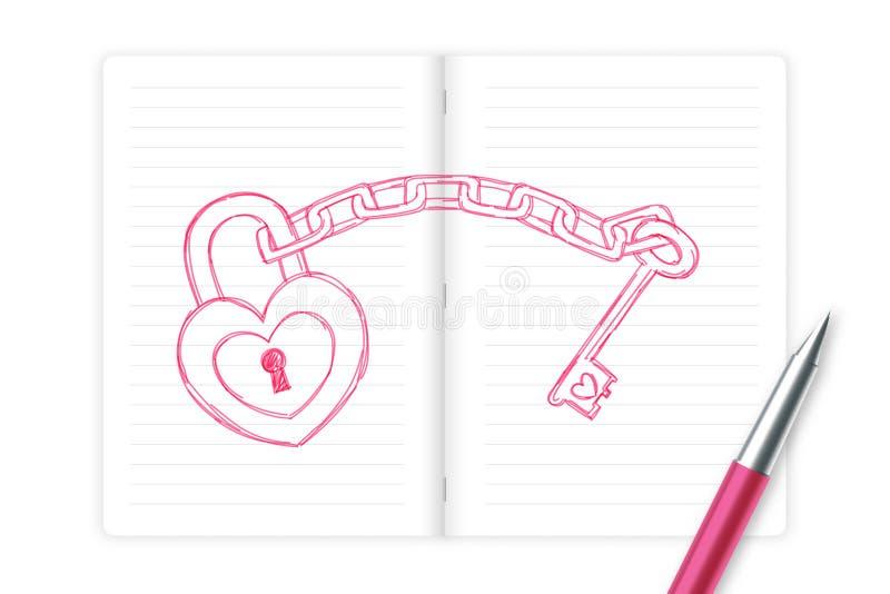 心脏锁和钥匙链由笔剪影与笔记本的桃红色颜色,华伦泰构思设计爱夫妇标志手图画 库存例证