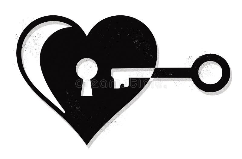 心脏锁和钥匙 库存例证