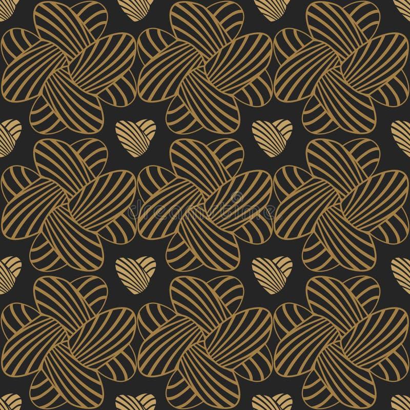 心脏镶边无缝的背景 上色模式可能的变形多种向量 库存例证