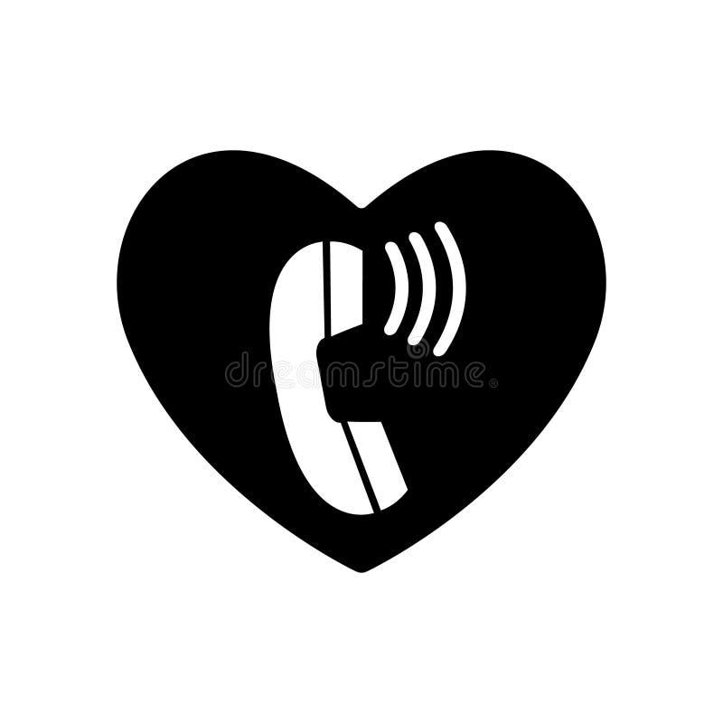 心脏黑色和电话通信 葡萄酒在心脏和情人节排字了 向量 联络,电话中心,支持se 向量例证