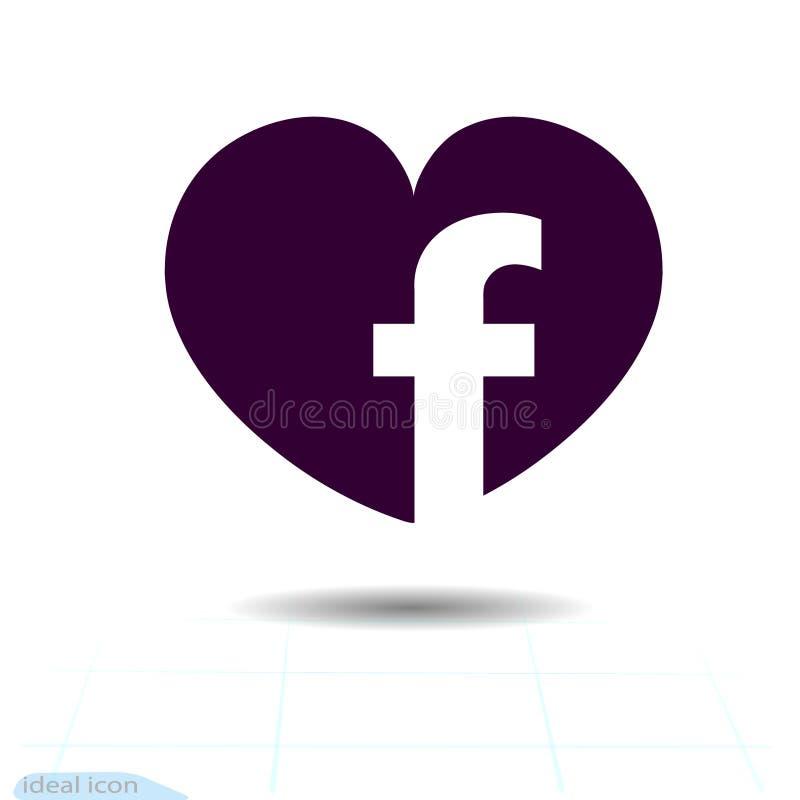 心脏黑象,爱标志 社会Facebook网络象在心脏 情人节标志,象征,图表的a平的样式 向量例证