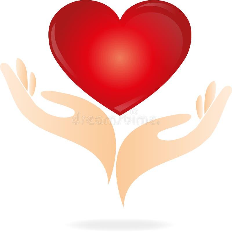 心脏,手,商标 库存例证