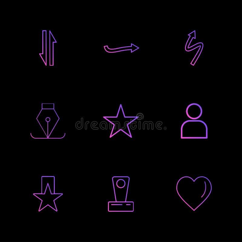 心脏,星,鸟嘴,箭头,方向,具体化,下载, u 向量例证