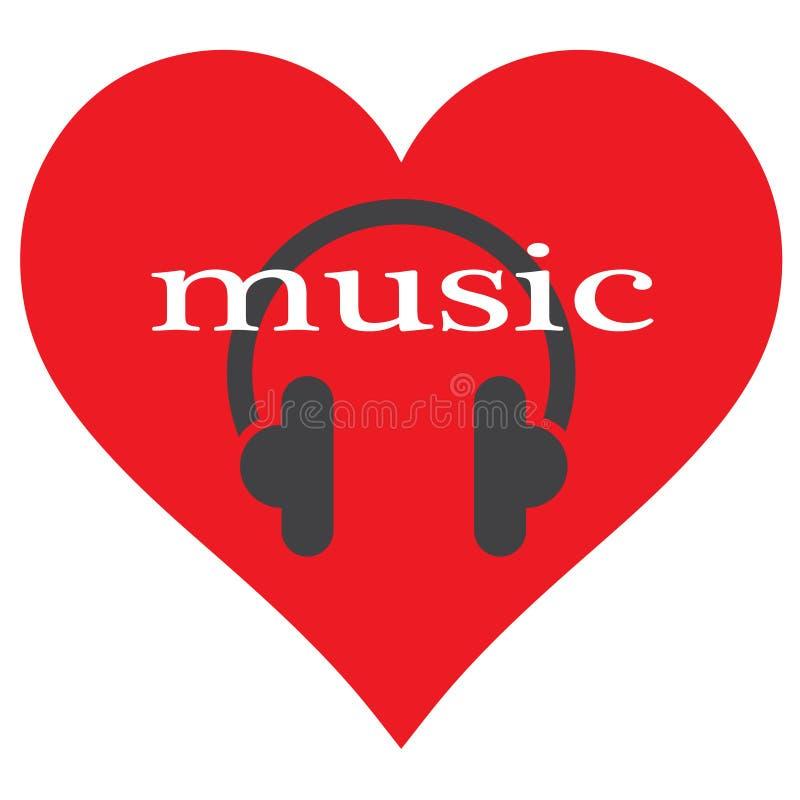 心脏,耳机 我喜欢听到音乐 库存例证