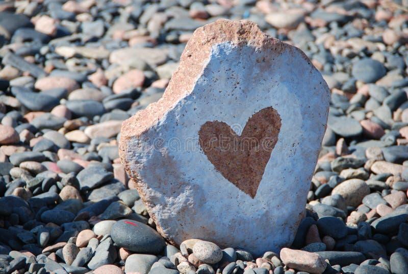 心脏 在石头的图片 免版税库存照片