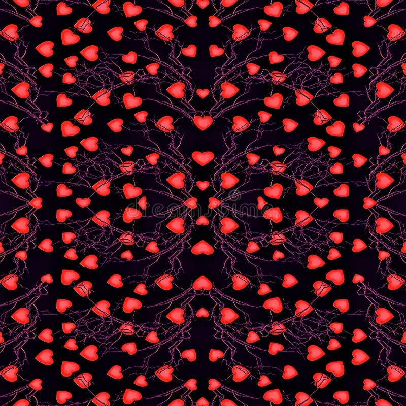 心脏主题现代无缝的样式 向量例证