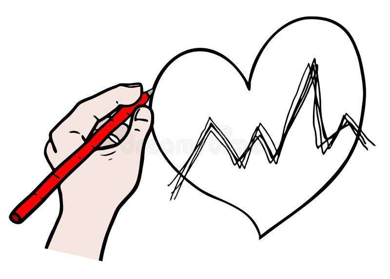 绘心脏 向量例证