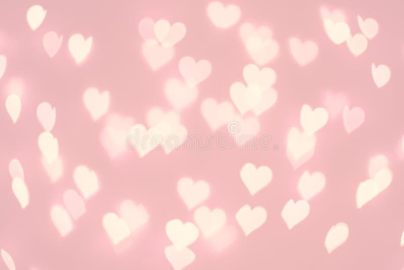 心脏bokeh背景 粉红彩笔颜色被弄脏的纹理 向量例证