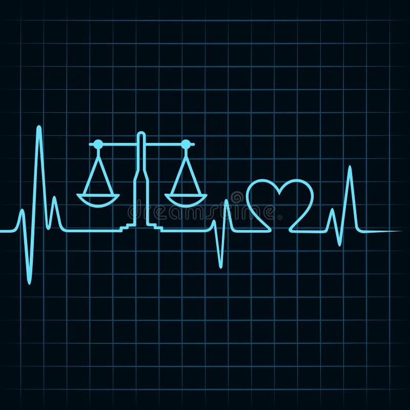 心跳做一个称量器和心脏标志 向量例证