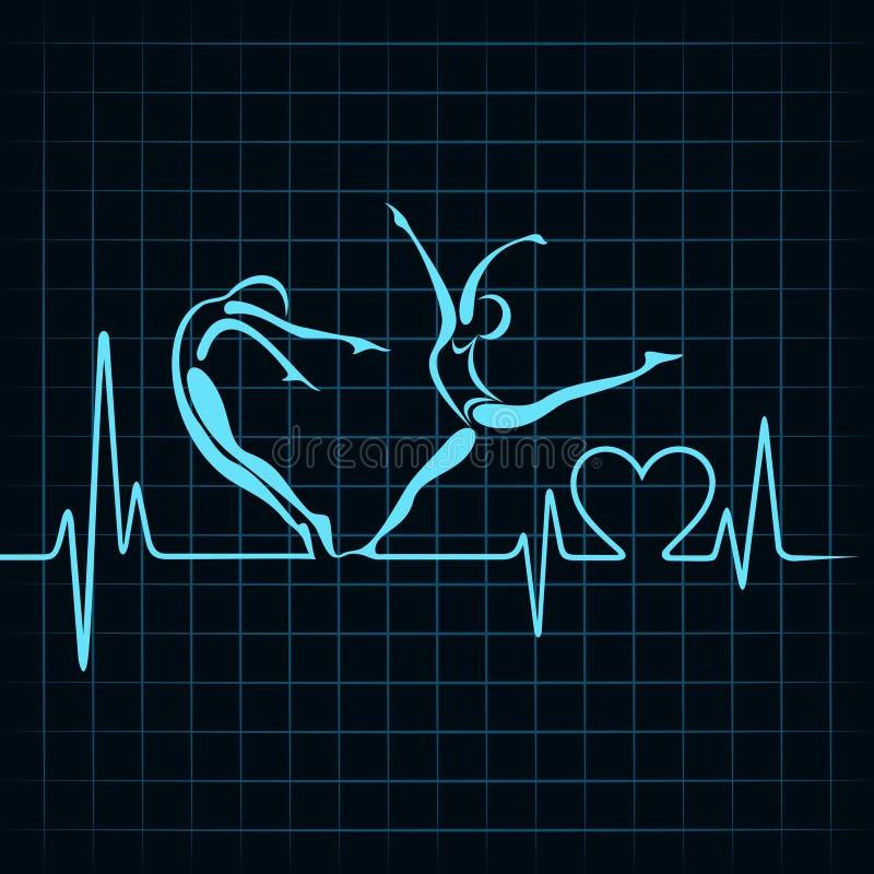 心跳做瑜伽女孩和心脏标志 向量例证