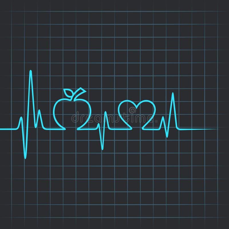 心跳做苹果和心脏标志 皇族释放例证
