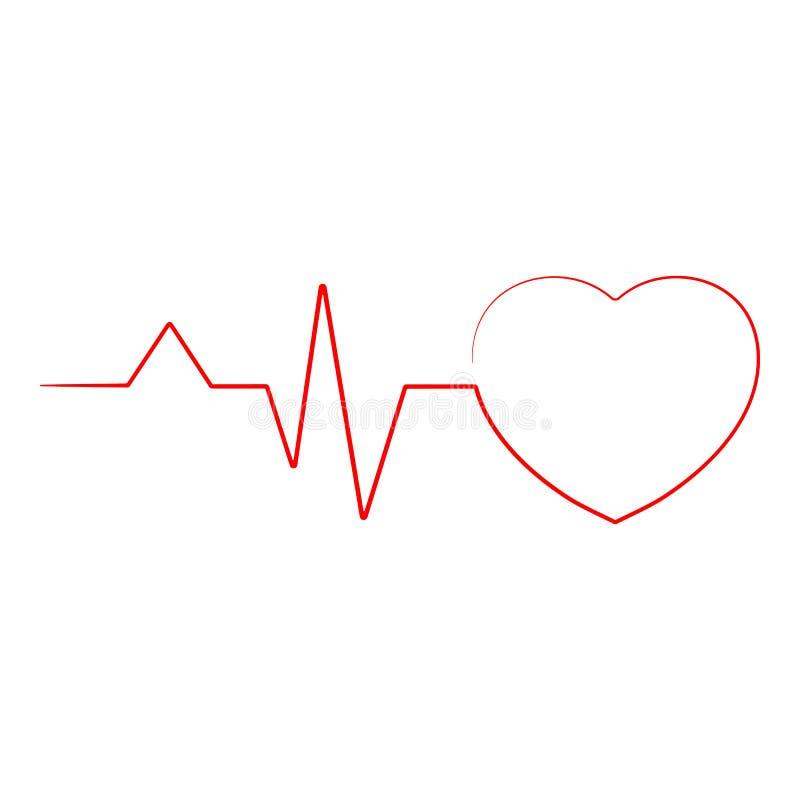心跳线心脏在背景隔绝的心脏Ekg 可实现的向量例证 向量例证