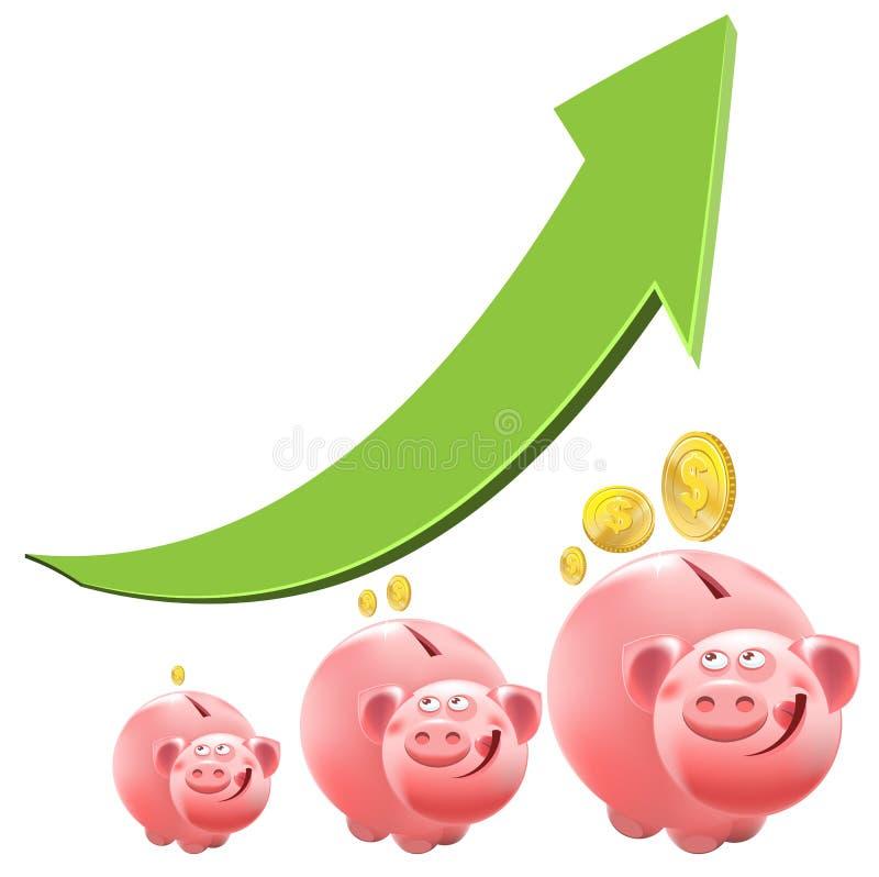 贪心银行的猪 兴趣金钱 向量例证