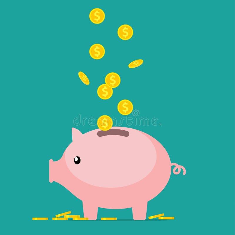 贪心银行的猪 向量例证
