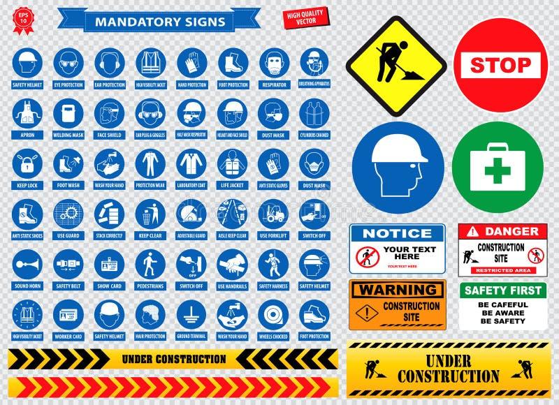 必须的标志,建筑健康,用于工业应用安全帽的安全标志,手套,耳朵保护,眼睛 库存例证
