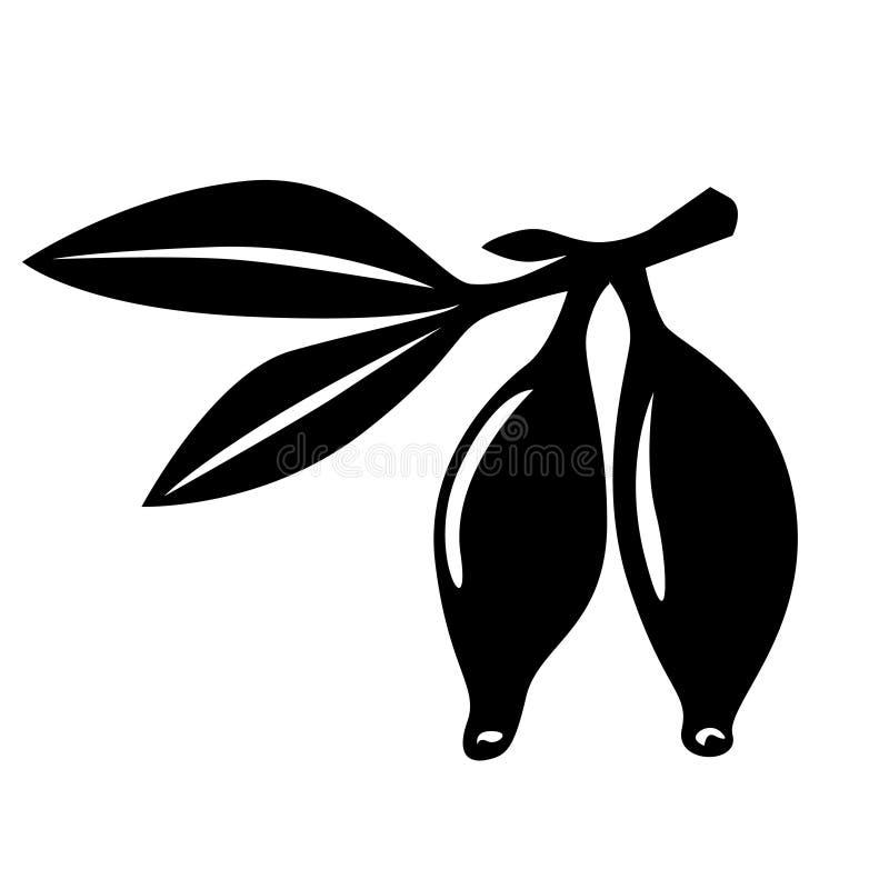 忍冬属植物莓果剪影 向量例证