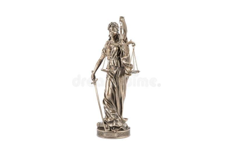 忒弥斯古铜色小雕象白色的 图库摄影
