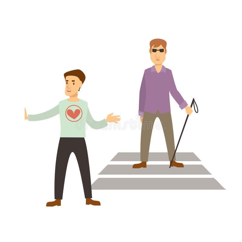 志愿工作或志愿人民导航盲目的协助 向量例证