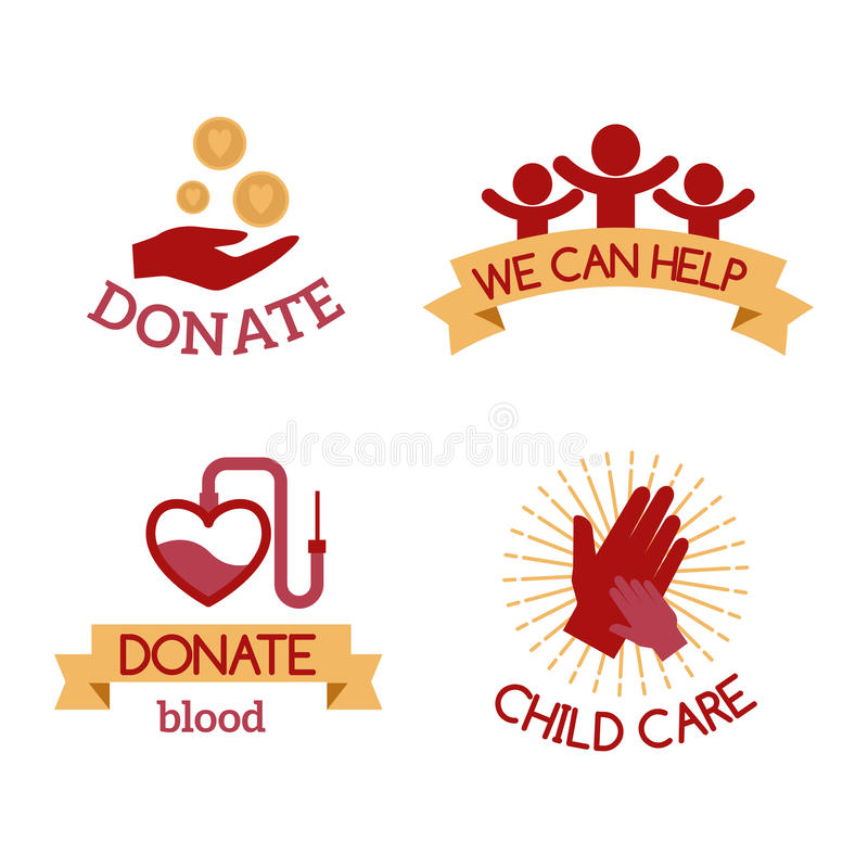 志愿红色象慈善捐赠传染媒介集合人道主义了悟手希望援助支持标志 库存例证