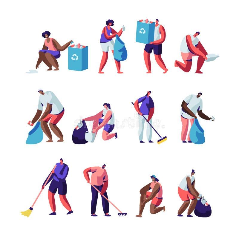 志愿者收集废弃物集合 倾斜的人们,清扫,被投入的垃圾入袋子与回收标志,与垃圾,字符的污染 库存例证