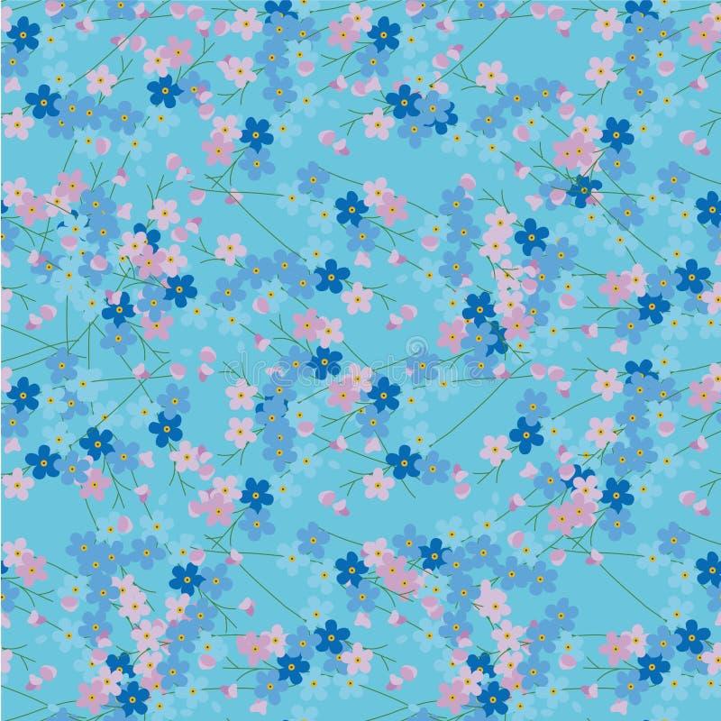 忘记无缝的样式 蓝色桃红色花背景平的设计元素股票传染媒介例证 向量例证