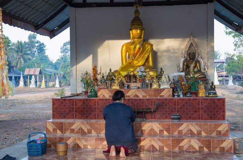 忠实的佛教妇女在Akat Amnuai寺庙,色军府,Isan,泰国祈祷 库存图片