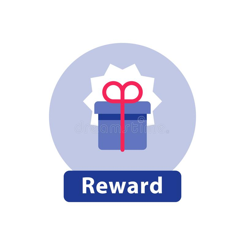 忠诚奖励,惊奇的礼物盒,超级礼物,胜利奖,平的象 库存例证