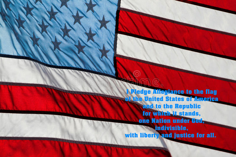 忠诚美国国旗承诺  库存图片