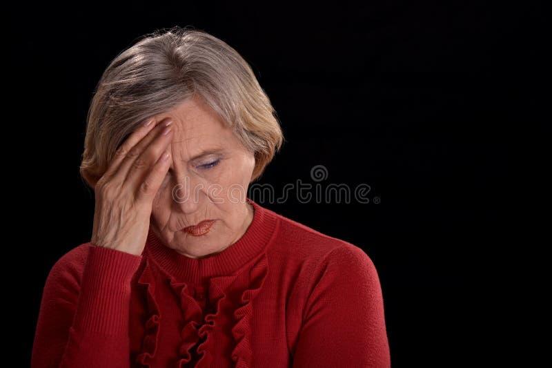 忧郁老妇人 库存照片