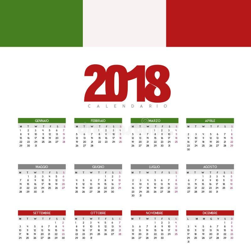 快乐和五颜六色的日历-新年2018年 库存例证