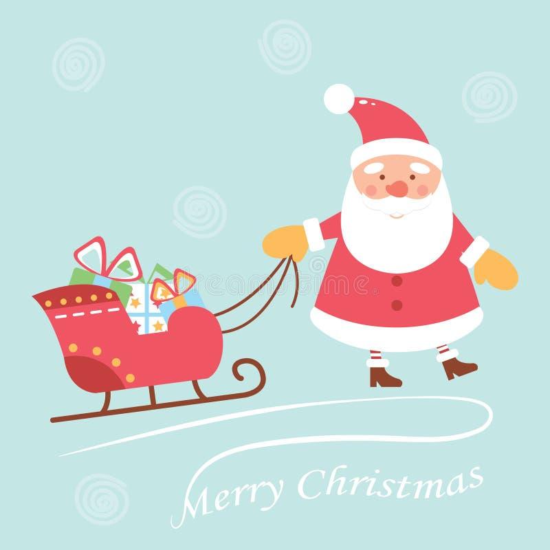 快乐和逗人喜爱的圣诞老人扯拽在雪橇的礼物 背景漫画人物厚颜无耻的逗人喜爱的狗愉快的题头查出微笑白色 袋子看板卡圣诞节霜klaus ・圣诞老人天空 库存例证