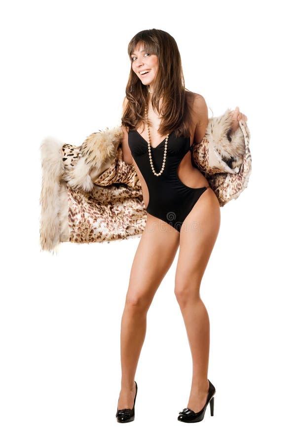 快乐外套夫人豹子泳装佩带 库存照片