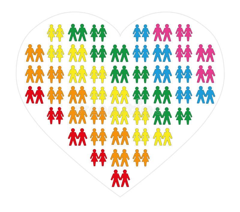 快乐女同性恋者结合心脏标志彩虹颜色 向量例证
