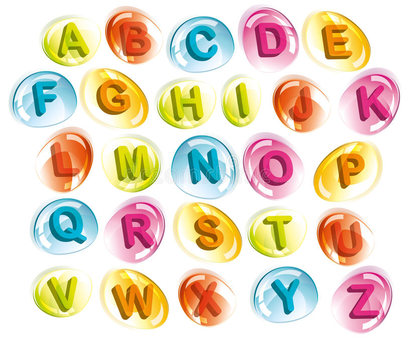 快乐字母表五颜六色的下落 向量例证
