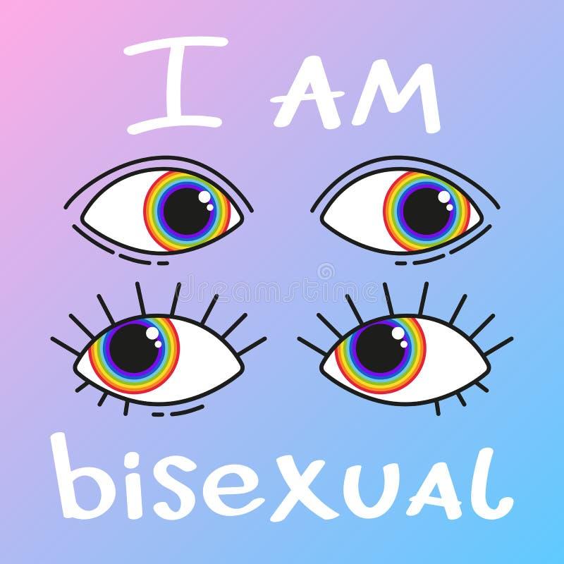 快乐字法 与LGBT彩虹手字法的概念性海报 库存例证