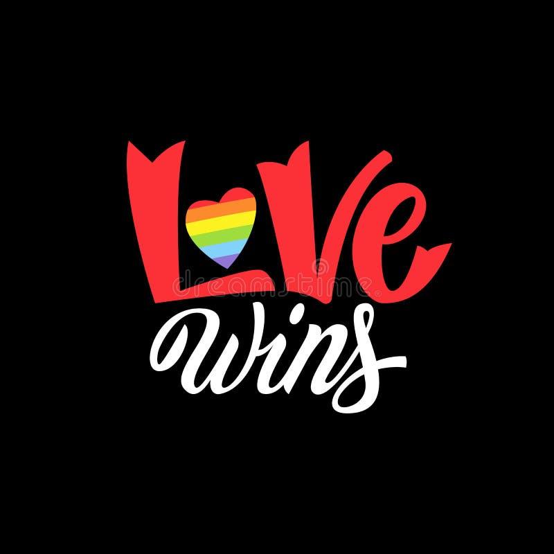 快乐字法 与LGBT彩虹手字法的概念性海报 五颜六色的闪烁手写的词组爱胜利 向量例证